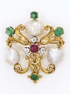 AN ART NOUVEAU GEM-SET BROOCH, BY TIFFANY & CO. Designed as an openwork scrolling foliate plaque, enhanced by two sculpted gold cherubs, set with three freshwater pearls, extending cabochon emeralds, centring upon a cushion-cut ruby accented by old European-cut diamond cluster, mounted in 14k gold, circa 1900. Signed Tiffany & Co.