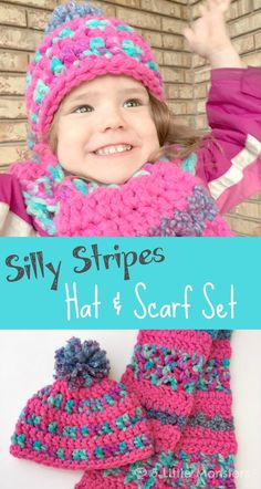 5 Little Monsters: Silly Stripes Hat and Scarf Set