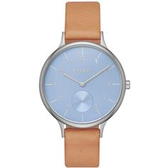 Skagen Women's Chronograph Anita Natural Leather Strap Watch 34mm... ($145) ❤ liked on Polyvore featuring jewelry, watches, silver, silver chronograph watch, chronograph wrist watch, skagen, skagen jewelry and silver watches