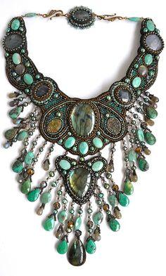 "chunky jewellery,Modern Boho, Bohemian, Tribal, Aztec, Hippie   Collier ""Ondine"" by Irina Chikineva. This is amazing!"