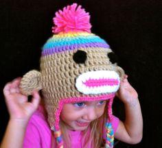 Rainbow Sock Monkey Hat with Earflaps and Pom Pom.