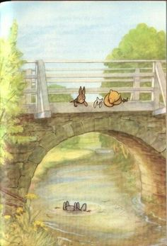 A Child Asks . Pooh and Rabbit looking over a bridge watching Eeyore floating down the river.Pooh and Rabbit looking over a bridge watching Eeyore floating down the river. Hundred Acre Woods, Winnie The Pooh Quotes, Eeyore Quotes, Winnie The Pooh Classic, Frederique, Christopher Robin, Pooh Bear, Children's Book Illustration, Book Illustrations