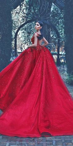 Colourful Wedding Dresses For Non-Traditional Bride ★ ball gown red low back bling with straps colourful wedding dresses lena berisha Pretty Prom Dresses, Cute Dresses, Beautiful Dresses, Colored Wedding Gowns, Wedding Dress Types, Indian Gowns Dresses, Bridal Dresses, Bridesmaid Dresses, Red Ball Gowns