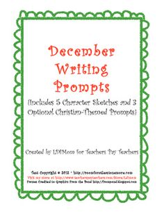 Are you looking for something different for your students?    You need a writing assignment for them, but they are BORED with the same old worksheets and activities.    These EXCITING and INVITING Writing Prompts will instantly draw them in!    Even reluctant writers will want to write a story to finish these prompts! This unit includes five character sketches and one is included in each prompt. $3 at TpT
