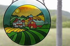 stained glass houses | ... Stained Glass Window Panel Farm House And Barn Colored Gla, unlicensed