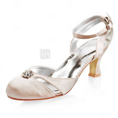 Satin Upper Mid Heel Closed-toes With Rhinestone Wedding Bridal Shoes More Colors