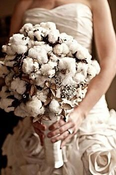 Bride's Rustic Glam Bouquet Of: Raw White Cotton + Hulls & Bouquet Brooches