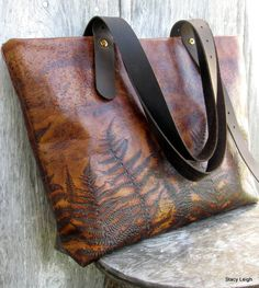 Woodland Leather Tote Bag with Embossed Ferns by by stacyleigh