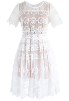 Scents of Flowers Mesh Dress in White - New Arrivals - Retro, Indie and Unique Fashion