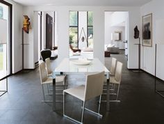 Exterior, White Beautiful Table And Cream Dinning Chair Desk: Outstanding Modern Minimalist Home By B&B Italia
