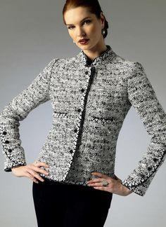 Vogue Patterns Sewing Pattern Misses'/Misses' Petite Quilted Stand-Up Collar Jacket Vogue Patterns, Chanel Style Jacket, Beautiful Pakistani Dresses, Boucle Jacket, Jacket Pattern, Line Jackets, Jacket Buttons, Blazers, Apparel Design