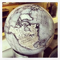 Bellerby and Co Globemakers - Desk Globe. www.bellerbyandco.com -- bespoke handmade world globes for lovers of art, travel, interior design, cartography, geography, maps, perfect for your library or office. Photo : Jade Fenster