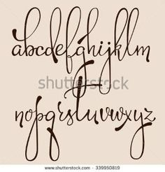 Handwritten pointed pen ink style decorative calligraphy cursive font. Calligraphy alphabet. Cute calligraphy letters. Isolated letter elements. Typography, decorative graphic design. - stock vector by joy