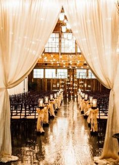 Gold and White Indoor Candle Wedding Ceremony