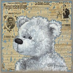 Black Mammy by Coco Fronsac Tole Decorative Paintings, Tole Painting, Boyds Bears, Teddy Bears, Mod Podge Crafts, Teddy Bear Pictures, Vintage Newspaper, Bear Illustration, Bear Cartoon