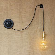 FAI DA TE antique retro sfera di ferro nero lampade da parete E27/E26 110 V-220 V per laboratorio comodino camera da letto Luci da parete industriale(China (Mainland))