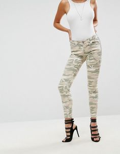 ASOS WHITBY Low Rise Skinny Jeans In Camo Print with Detachable Chain