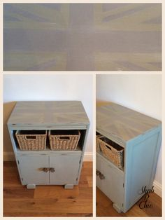 Union Jack hall cupboard painted with ASCP a mix of Chateau Grey & Old White the Union Jack is Paris Grey