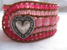 Pink Heart Beaded Leather Cuff/Bracelet, 5 Row Cuff, Natural Leather, Rose Jade, Wrap Bracelet, Beaded bracelet