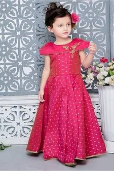 Pink Color Jacquard Hand Work Party Wear Gown For Kids Product Details : Perfect for special occasion, this cute pink party wear gown will make youe daughter look cute. Crafted of jacquard fabric this beautiful gown comes with santoon inner. Latest Party Wear Gown, Party Wear Gowns Online, Kids Party Wear Dresses, Gown Party Wear, Girls Party Wear, Kids Wear, Party Gowns, Gowns For Girls, Dresses Kids Girl