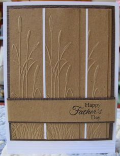 "By Susie B. She used a Darice Border Embossing Folder called ""Nature"" (a 3-pack. This card shows one of the borders.)"