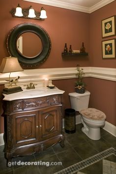 Earthy Brown Looks Great With White Fixtures Pedestal Sink And - How much does it cost to remodel a half bathroom