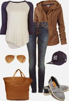 Brown Sweater Hoodie with White-Blue Shirt, Striped Moccasin Shoes, Blue Jeans and Cap, Brown Leather Handbag and Glasses...idk about the cap. The the rest is cute and comfy