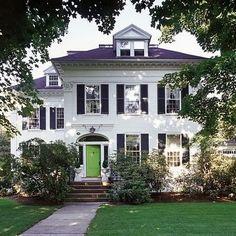 White house, black shutters, Green Door