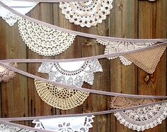 Handmade Vintage Wedding Bunting Garland (Willow & Snowdrop) Doily Crochet in Brown, Beige, White and Cream by Daisies Blue - 5 metre length Doily Bunting, Vintage Bunting, Fabric Bunting, Bunting Garland, Crochet Doilies, Hand Crochet, Pagan Wedding, Wedding Bunting, Chic Wedding