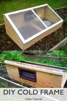 DIY cold frame made from an old storm window. You or your neighbor has at least one of these windows that you can make into a mini greenhouse. Watch our video tutorial - GardenFork.TV (A Frame Chicken Houses) Lean To Greenhouse, Outdoor Greenhouse, Greenhouse Growing, Greenhouse Plans, Cheap Greenhouse, Greenhouse Gardening, Old Window Greenhouse, Homemade Greenhouse, Cold Frame Gardening