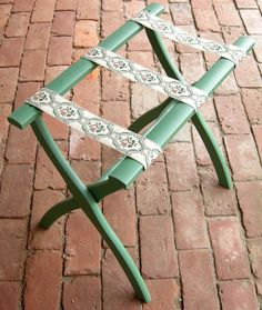 Folding Green Luggage Rack Floral Embroidered by buyadalia on Etsy. , via Etsy.