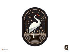 Crane Capsul logo design bird oval enclosure illustration icon: