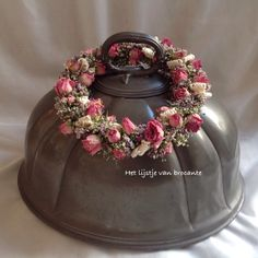 English pewter cloche with homemade wreath.
