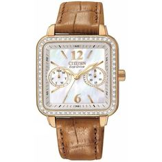Citizen FD1053-00D Women's Eco-Drive Rose Gold Tone Leather Strap MOP Dial Swarovski Crystal Watch