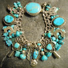 Native American Bracelet Old Pawn Turquoise Charms Vintage Squash Blossoms