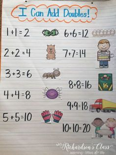 3 Activities to Makes Doubles Addition Fun {+ FREEBIE} Doubles Addition Teaching Ideas that are grea Addition Anchor Charts, Number Anchor Charts, Anchor Charts First Grade, Kindergarten Anchor Charts, Kindergarten Math, Kindergarten Addition, Doubles Addition, Math Doubles, Doubles Facts