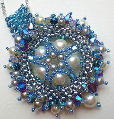 Rivoli Beadwoven Blue Pendant Unique Jewelry door SpringColors, $50.00