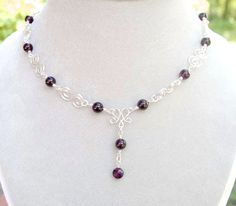Necklaces: Sterling Silver Gemstone Wire Wrapped Birthstone Beaded Necklaces Handmade by Gemstone Gifts