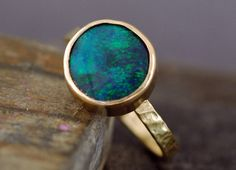 Black Opal in Recycled 18k Yellow Gold Ring Made to door Specimental