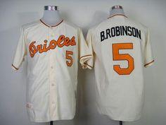 8102f196a Mitchell And Ness 1989 Orioles #5 Brooks Robinson Cream Throwback Stitched  MLB Jersey Baseball Jerseys