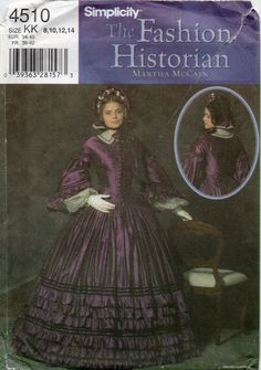 Simplicity 4510 Fashion Historian Misses Civil War Dress womens costume sewing pattern Martha McCain by mbchills