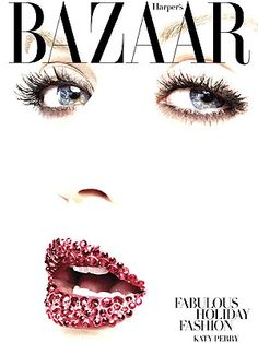 Katy Perry on the cover of Harper's Bazaar with Swarovski covered lips