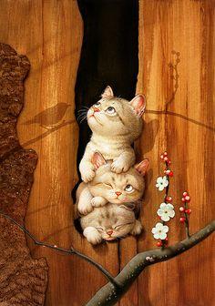 Makoto Muramatsu [村松誠] è un illustratore Giapponese, in special modo di gatti, ma anche di tanti altri animali. Le espressioni dei suoi animali, un misto di umorismo e dolcezza deliziosamente fusi insieme, fanno riconoscere immediatamente lo stile di Muramatsu, non appena se ne sia visto uno.