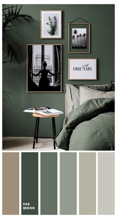 Color Palette For Home, Bedroom Colour Palette, Bedroom Color Schemes, Green Rooms, Bedroom Green, Emerald Bedroom, Home Decor Bedroom, Bedroom Wall, Bedroom Ideas