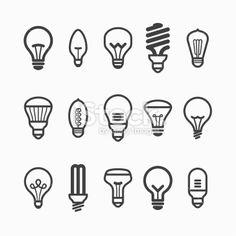 Light bulb icons Royalty Free Stock Vector Art Illustration
