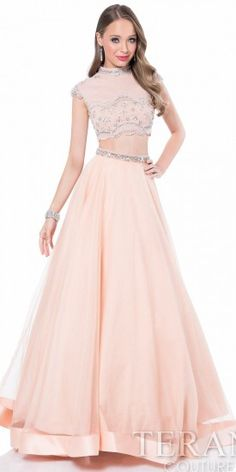 High Collar Beaded Two Piece Prom Dress by Terani Couture  #edressme