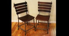 These dining chairs are made of recycled steel and the staves from decommissioned red wine barrels!