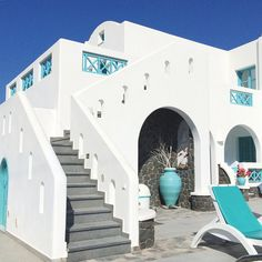 Santorini Part 1 - Anastasia Princess Hotel Greece Architecture, Mediterranean Architecture, Mediterranean Style, Santorini House, Santorini Hotels, Greece Hotels, Home Renovation, Princess Hotel, French Doors Bedroom