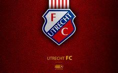 Download wallpapers Utrecht FC, 4K, Dutch football club, leather texture, logo, emblem, Eredivisie, Utrecht, Netherlands, football, Dutch Football Championship