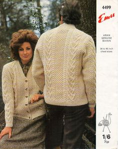 womens mens aran knitting pattern PDF download aran cardigan aran jacket v neck…
